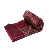 Indian Jaipuri Handmade Silk Cotton Filled Quilt Bed Cover Throw Blanket (MAROON)