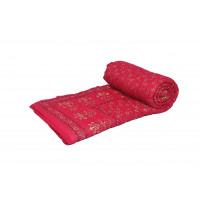Indian Jaipuri Handmade Cotton Quilt Bed Cover Throw Blanket (RED)