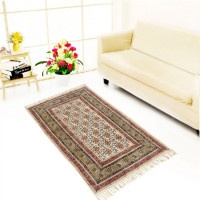 Jaipur Textile Hub Block Printed Cotton Rug Floor Runner Handmade Abstract Design Carpet Home Decor Yoga Mats(BEIGE)