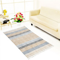 Jaipur Textile Hub Block Printed Cotton Rug Floor Runner Handmade Abstract Design Carpet Home Decor Yoga Mats(CREAM)