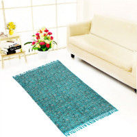 Jaipur Textile Hub Block Printed Cotton Rug Floor Runner Handmade Abstract Design Carpet Home Decor Yoga Mats(AQUA)