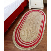 JAIPUR TEXTILE HUB Oval Shaped Indian Natural Jute Hand Woven Rug Carpet Mat Home Decor (RED STRIP)