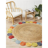 JAIPUR TEXTILE HUB Indian Natural Cotton Round Jute Rug Carpet Mat Home Decor With Multicolor Circular Design