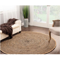 Round Jute Rug Mat Color With Multiple Black Lines