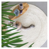 Round Jute Rug Color White