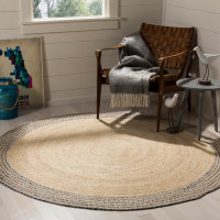 JAIPUR TEXTILE HUB Round Indian Natural Jute Cotton Chindi Rug Carpet Mat (GREY STRIP)