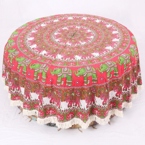 Round Mandala Table Cover With Elephant Print (PINK GREEN & SEPIA)