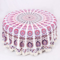 Round Mandala Table Cover With Peacock Pattern (MIXED & WHITE)