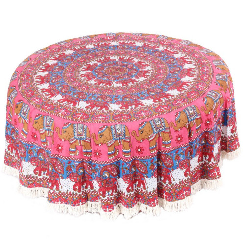 Round Mandala Table Cover With Elephant Print (PINK BLUE)
