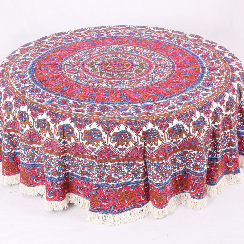 Round Mandala Table Cover With Elephant Print (PINK WHITE)