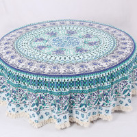 Round Mandala Table Cover Flower Pattern (BLUE TURQUOISE)