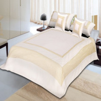 Silk Bed Sheet Cover Set With 2 Pillow & 2 Cushion Cover for Double Bed (CHAMPAGNE)