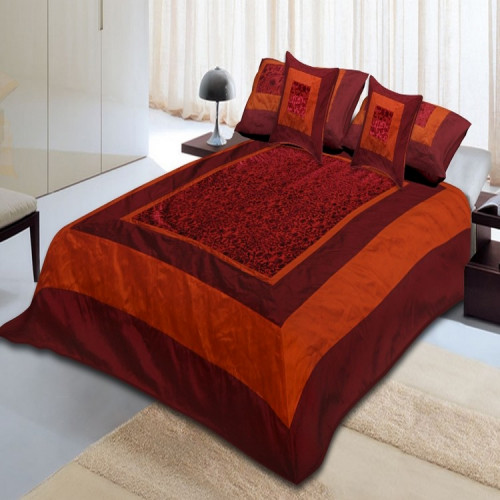 Silk Bed Sheet Cover Set With 2 Pillow & 2 Cushion Cover for Double Bed (DARK MAROON)