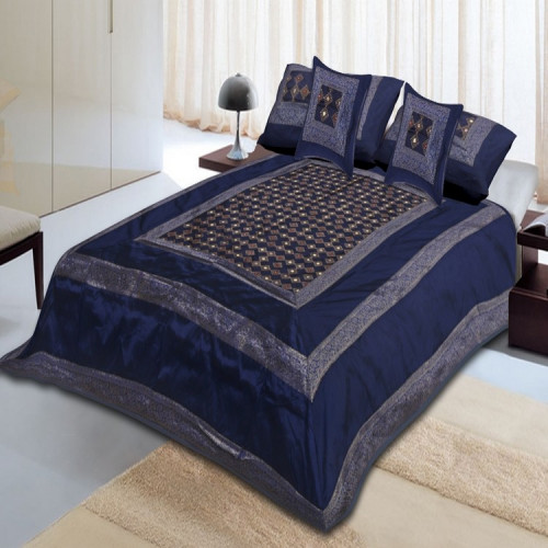 Silk Bed Sheet Cover Set With 2 Pillow & 2 Cushion Cover for Double Bed (BLUE SLATE)