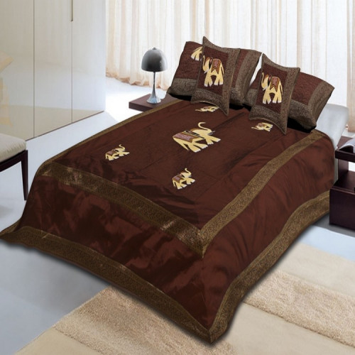 Silk Bed Sheet Cover Set With 2 Pillow & 2 Cushion Cover for Double Bed (COFFEE)