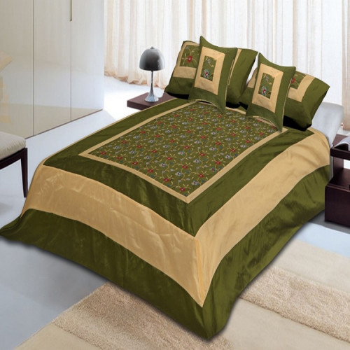 Silk Bed Sheet Cover Set With 2 Pillow & 2 Cushion Cover for Double Bed (DARK GREEN)