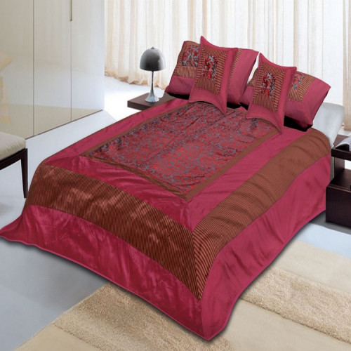 Silk Bed Sheet Cover Set With 2 Pillow & 2 Cushion Cover for Double Bed (DARK COREL)