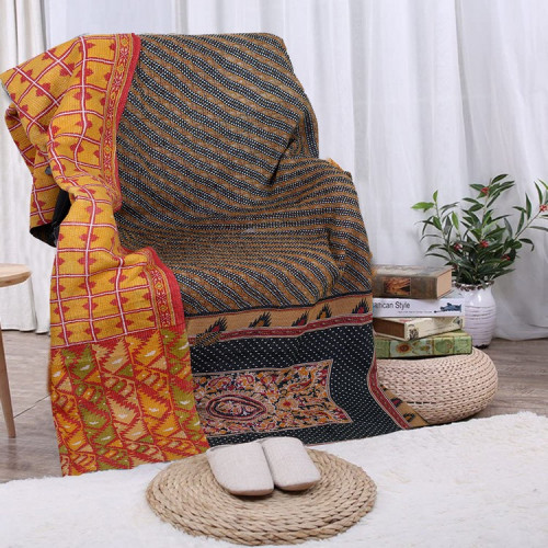 Vintage Handmade Cotton Rajasthani Reversible Quilt Blanket/Gudari/Throw (BROWN YELLOW)