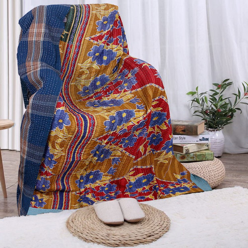 Vintage Handmade Cotton Rajasthani Reversible Quilt Blanket/Gudari/Throw (BRONZE & BLUE)