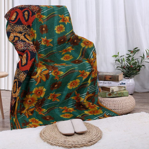 Vintage Handmade Cotton Rajasthani Reversible Quilt Blanket/Gudari/Throw (DARK GREEN)