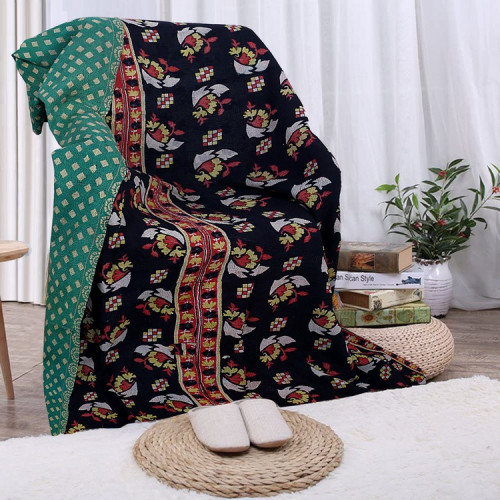 Vintage Handmade Cotton Rajasthani Reversible Quilt Blanket/Gudari/Throw (BLACK & JADE)