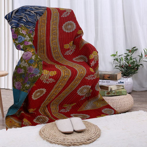 Vintage Handmade Cotton Rajasthani Reversible Quilt Blanket/Gudari/Throw (GOLDEN & CARMINE)