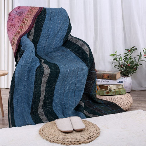 Vintage Handmade Cotton Rajasthani Reversible Quilt Blanket/Gudari/Throw (BLACK & STEEL BLUE)