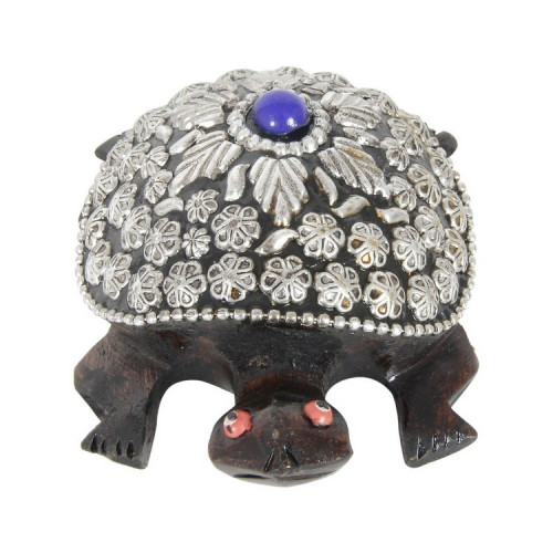 Jaipur Textile Hub Handcraft Silver Coloured Turtle With Brass Fine Work Statue For Home Decor