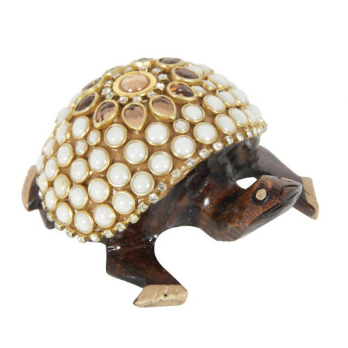 Jaipur Textile Hub Handcraft Golden Coloured Turtle With Pearl Fine Work Statue For Home Decor