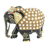 Jaipur Textile Hub Handcraft Golden Coloured Elephant Statue With Pearl Fine Work For Home Decor