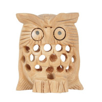 Jaipur Textile Hub Wooden Owl Brown Statue With Jali Carving Work Antique Showpiece