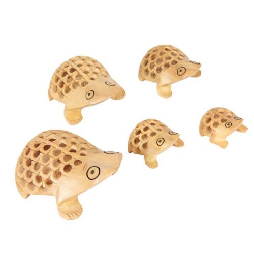 Jaipur Textile Hub Handcraft Wooden Frog Brown Statue With Fine Net Carving (Set of 5 Piece)